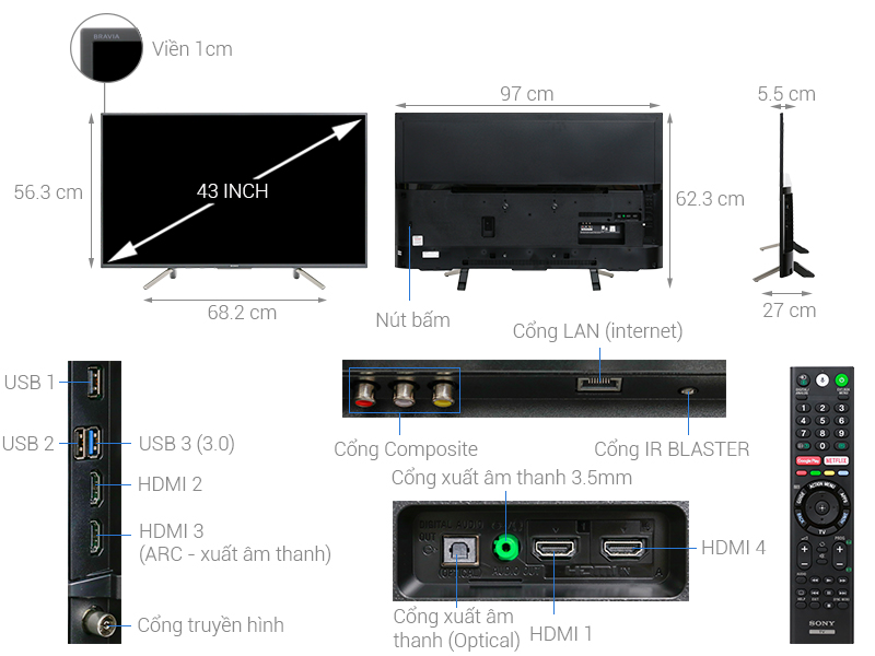 Thông số kỹ thuật Android Tivi Sony 43 inch KDL-43W800F