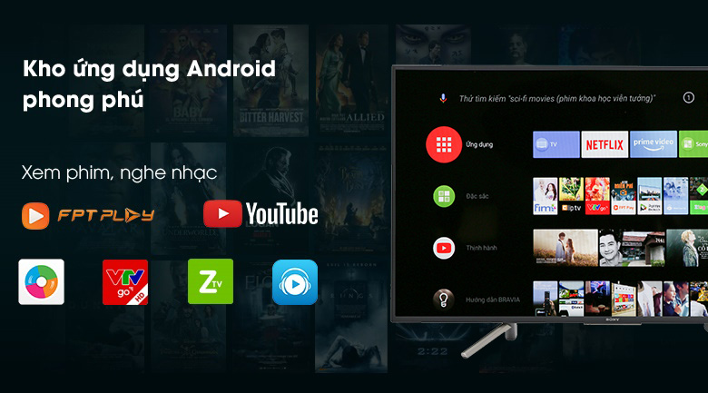 Hệ điều hành Android 8.0 trên Android Tivi Sony 43 inch KDL-43W800F
