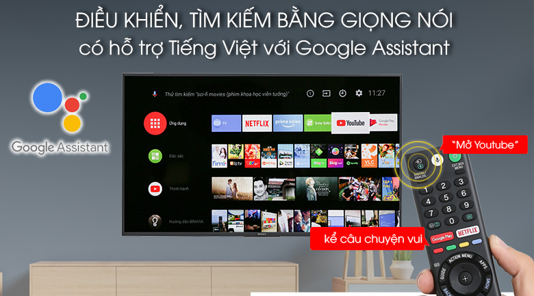 Tivi điều khiển. tìm kiếm bằng giọng nói tiếng Việt trên Android Tivi Sony 49 inch KDL-49W800F