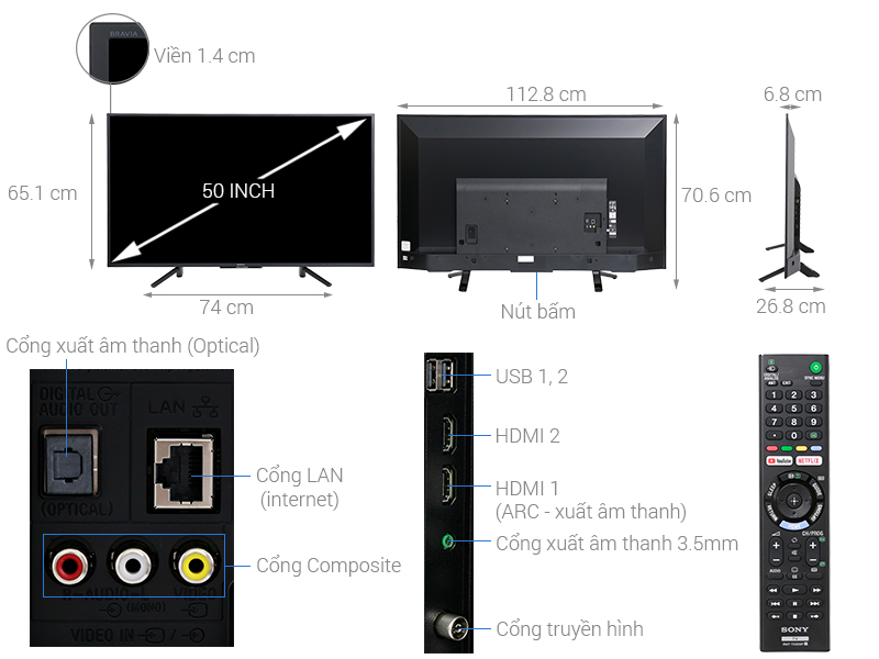 Thông số kỹ thuật Smart Tivi Sony 50 inch KDL-50W660F