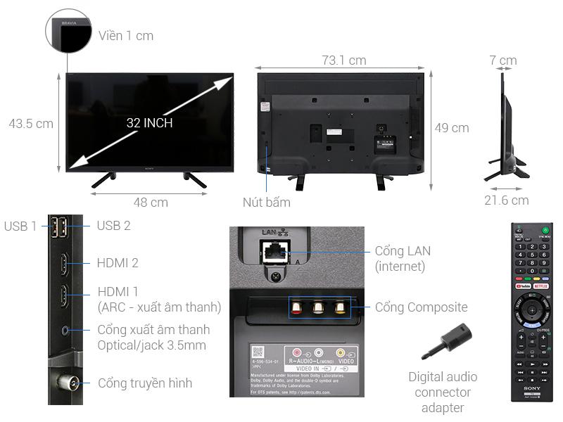 Thông số kỹ thuật Smart Tivi Sony 32 inch KDL-32W610F