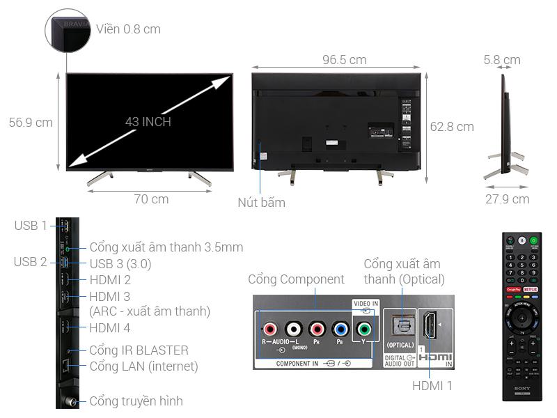 Thông số kỹ thuật Android Tivi Sony 4K 43 inch KD-43X8500F