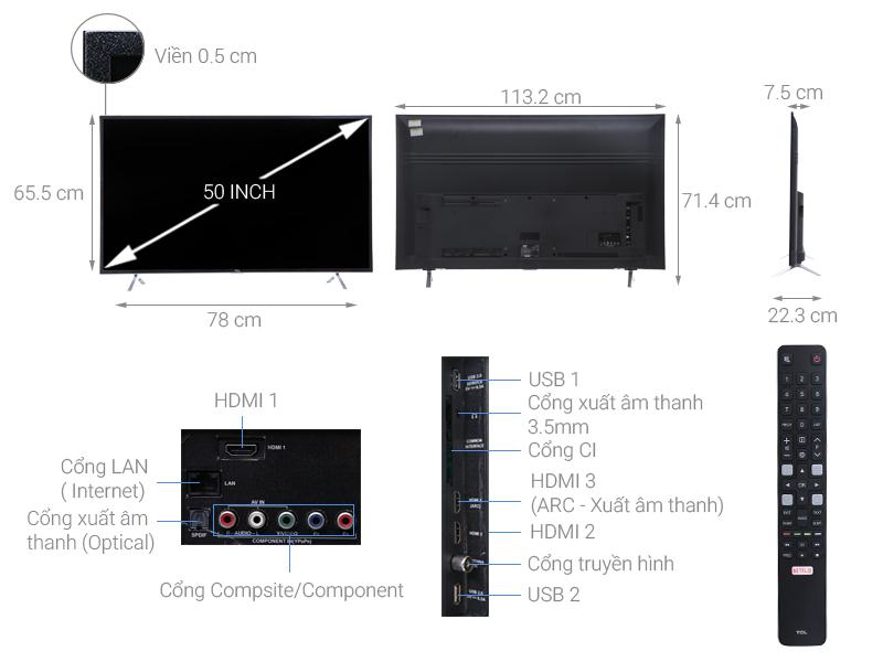 Thông số kỹ thuật Smart Tivi TCL 4K 50 inch L50P62