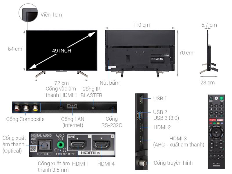 Thông số kỹ thuật Android Tivi Sony 4K 49 inch KD-49X7500F