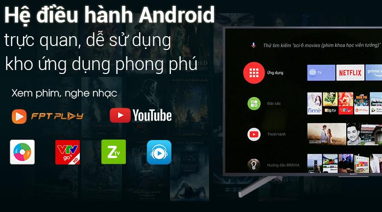 Hệ điều hành Android trên Android Tivi Sony 4K 49 inch KD-49X7500F
