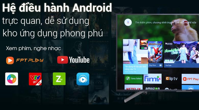 Hệ điều hành Android trên Tivi Sony 4K 49 inch KD-49X7500F