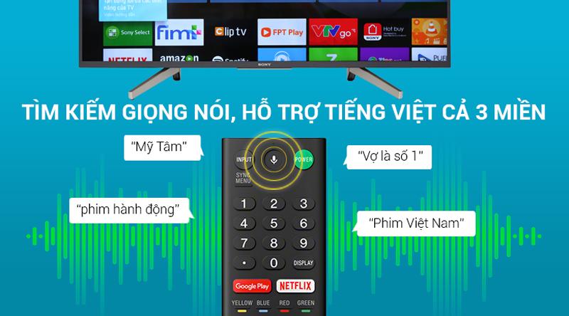 Tìm kiếm giọng nói bằng tiếng việt trên Android Tivi Sony 4K 49 inch KD-49X7500F