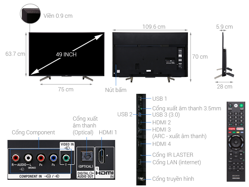 Thông số kỹ thuật Android Tivi Sony 4K 49 inch KD-49X8500F