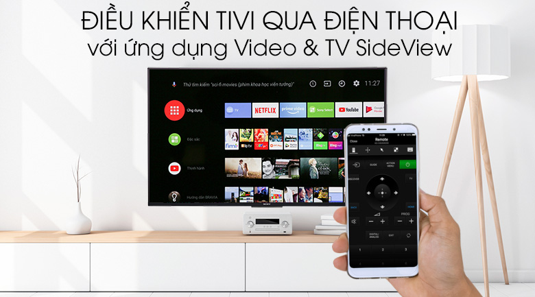 Android Tivi Sony 4K 49 inch KD-49X8500F - Điều khiển tivi bằng điện thoại bằng ứng dụng Video & TV SideView