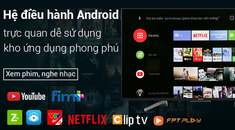 Android Tivi Sony 4K 55 inch KD-55X8500F - Remote thông minh, Google Assistant