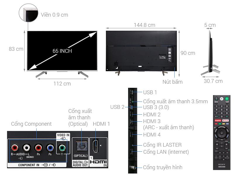 Thông số kỹ thuật Android Tivi Sony 4K 65 inch KD-65X8500F/S