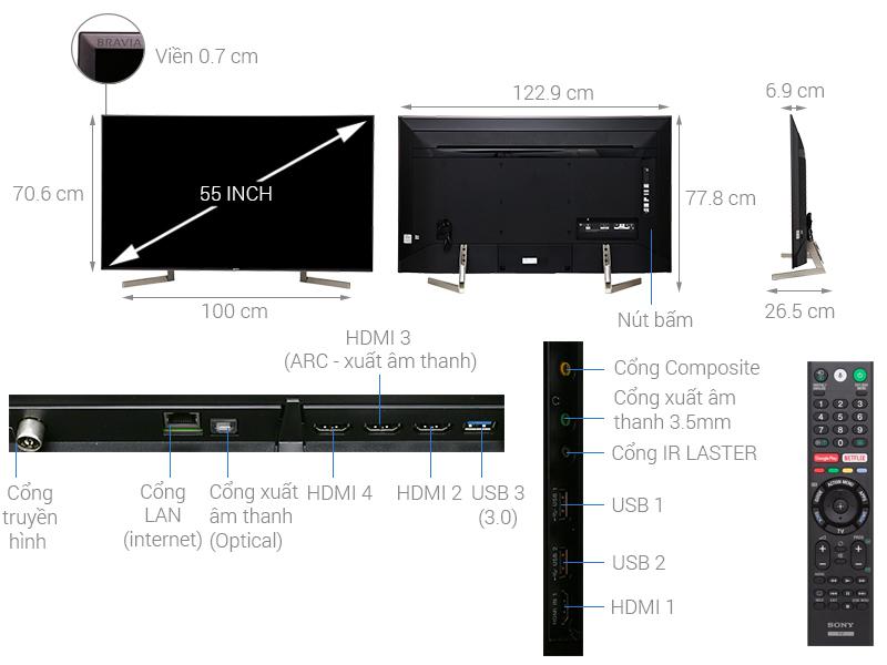 Thông số kỹ thuật Android Tivi Sony 4K 55 inch KD-55X9000F
