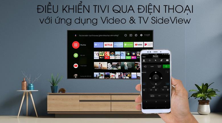 Android Tivi Sony 4K 55 inch KD-55X9000F - Dễ dàng điều khiển tivi thông qua ứng dụng Sony Video & TV SideView