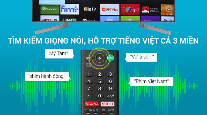Tìm kiếm giọng nói bằng tiếng việt trên Android Tivi Sony 4K 65 inch KD-65X9000F