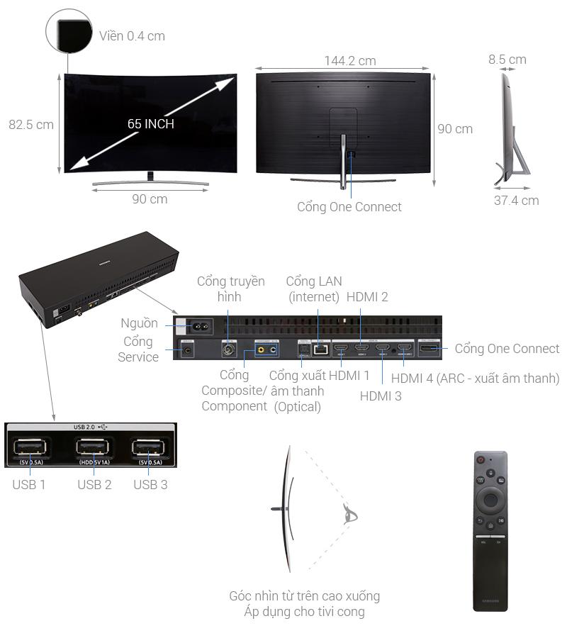 Thông số kỹ thuật Smart Tivi QLED Samsung 4K 65 inch QA65Q8CN