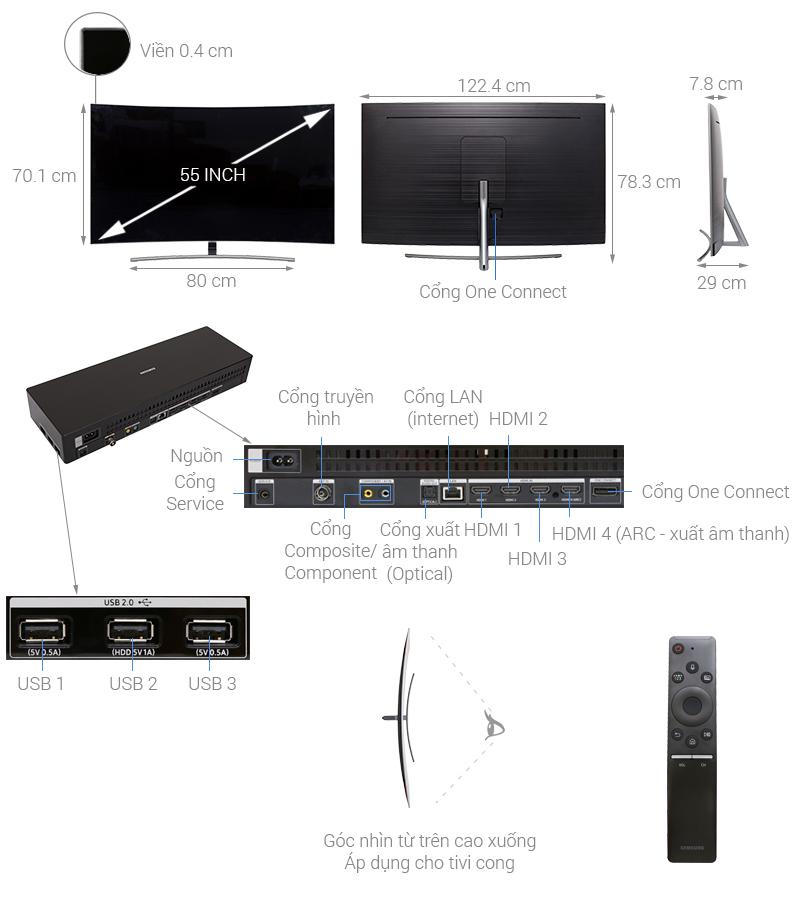 Thông số kỹ thuật Smart Tivi QLED Samsung 4K 55 inch QA55Q8CN