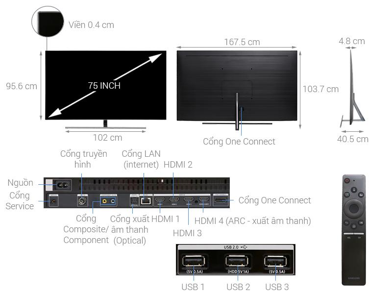 Thông số kỹ thuật Smart Tivi QLED Samsung 4K 75 inch QA75Q7FN
