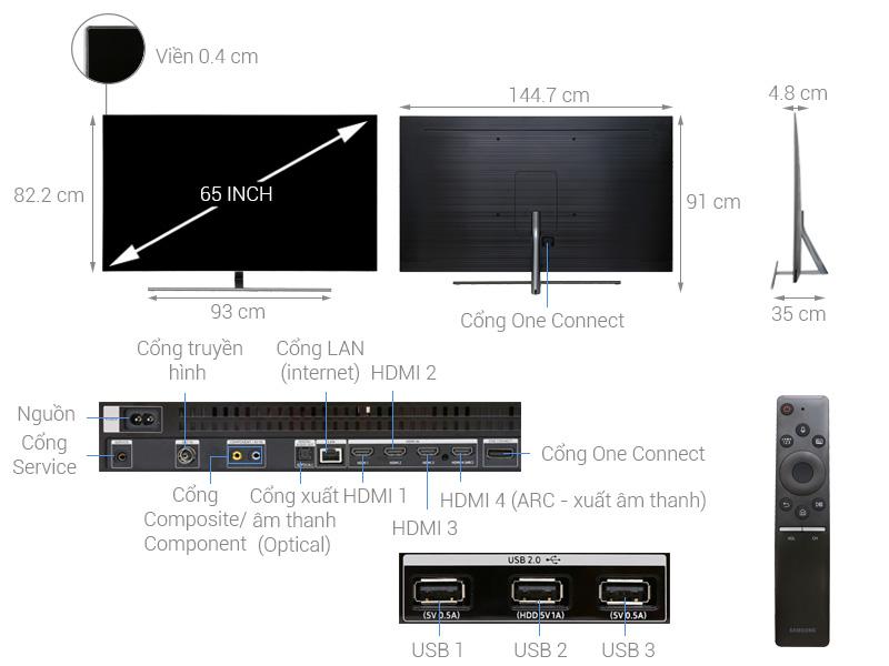 Thông số kỹ thuật Smart Tivi QLED Samsung 4K 65 inch QA65Q7FN
