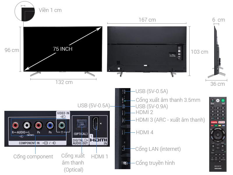 Thông số kỹ thuật Android Tivi Sony 4K 75 inch KD-75X8500F