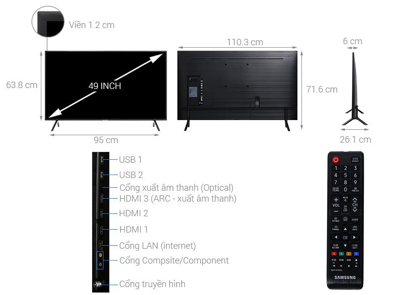 Thông số kỹ thuật Smart Tivi Samsung 4K 49 inch UA49NU7100