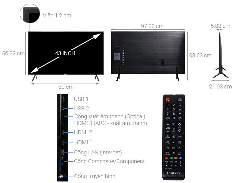 Thông số kỹ thuật Smart Tivi Samsung 4K 43 inch UA43NU7100