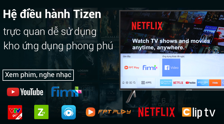 Hệ điều hành Tizen OS trên Smart Tivi Samsung 4K 65 inch UA65NU7100