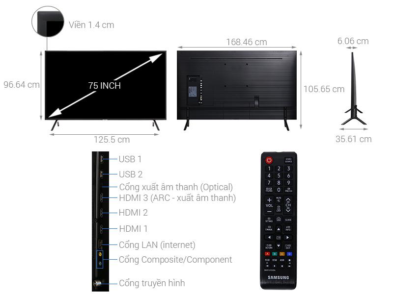 Thông số kỹ thuật Smart Tivi Samsung 4K 75 inch UA75NU7100