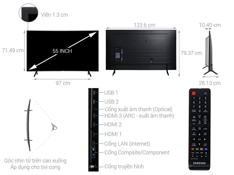 Thông số kỹ thuật Smart Tivi Cong Samsung 4K 55 inch UA55NU7300