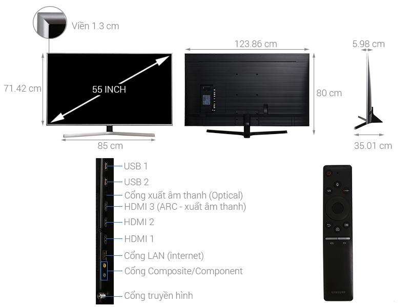 Thông số kỹ thuật Smart Tivi Samsung 4K 55 inch UA55NU7400