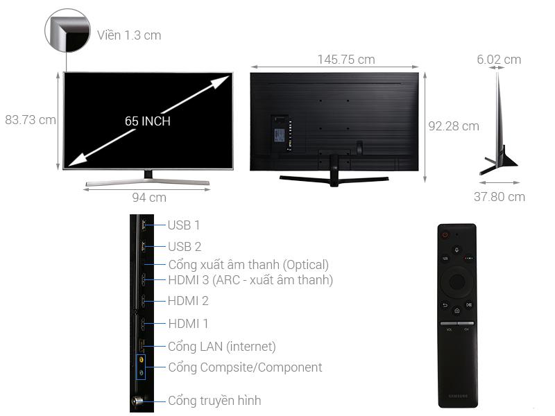Thông số kỹ thuật Smart Tivi Samsung 4K 65 inch UA65NU7400