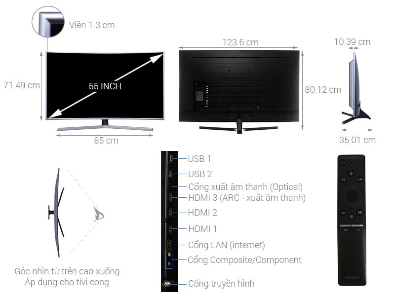 Thông số kỹ thuật Smart Tivi Cong Samsung 4K 55 inch UA55NU7500