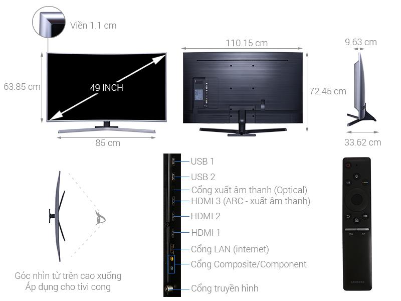 Thông số kỹ thuật Smart Tivi Cong Samsung 4K 49 inch UA49NU7500