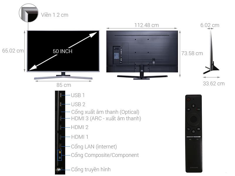Thông số kỹ thuật Smart Tivi Samsung 4K 50 inch UA50NU7400