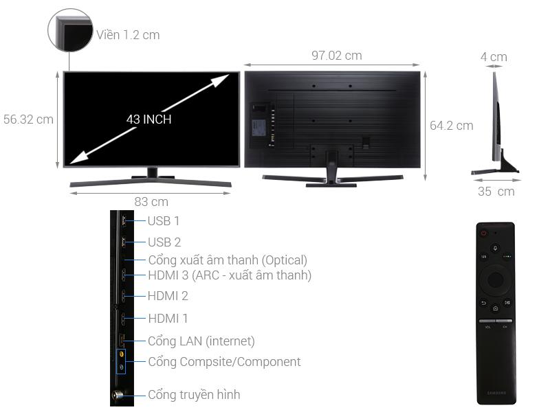 Thông số kỹ thuật Smart Tivi Samsung 4K 43 inch UA43NU7400