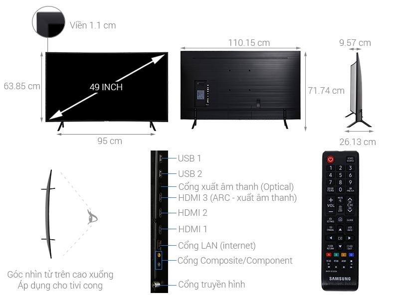 Thông số kỹ thuật Smart Tivi Cong Samsung 4K 49 inch UA49NU7300