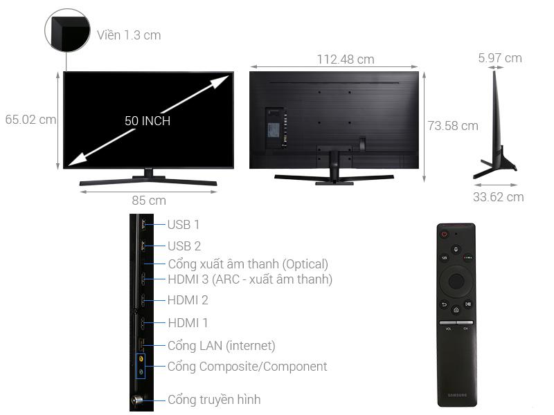 Thông số kỹ thuật Smart Tivi Samsung 4K 50 inch UA50NU7800