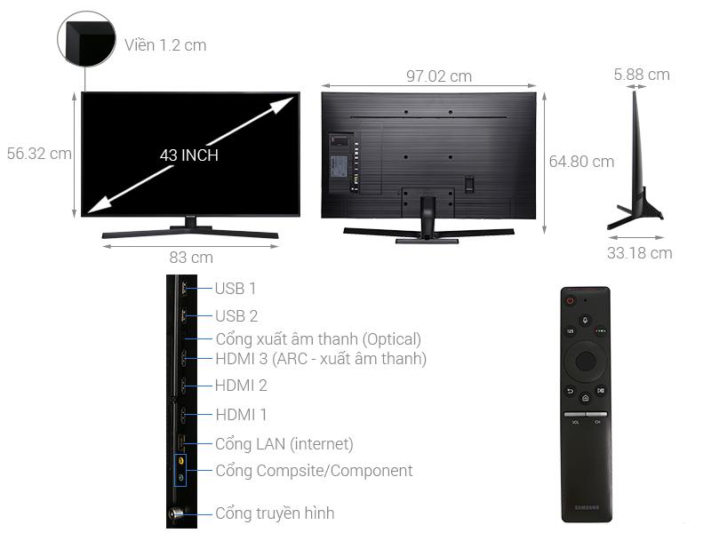 Thông số kỹ thuật Smart Tivi Samsung 4K 43 inch UA43NU7800
