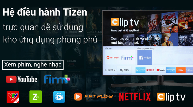 Hệ điều hành Tizen OS trên Smart Tivi Samsung 4K 43 inch UA43NU7800