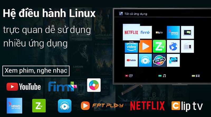 Hệ điều hành Linux trên Smart Tivi Sony 4K 43 inch KD-43X7000F