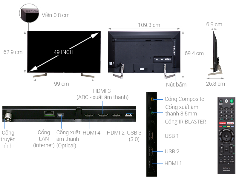 Thông số kỹ thuật Android Tivi Sony 4K 49 inch KD-49X9000F