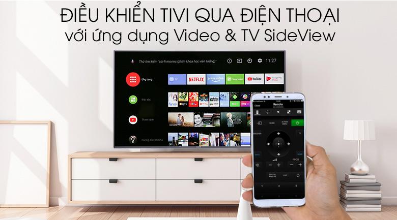 Hỗ trợ điều khiển tivi bằng điện thoại thông qua ứng dụng Video & TV SideView trên Android Tivi Sony 4K 49 inch KD-49X9000F