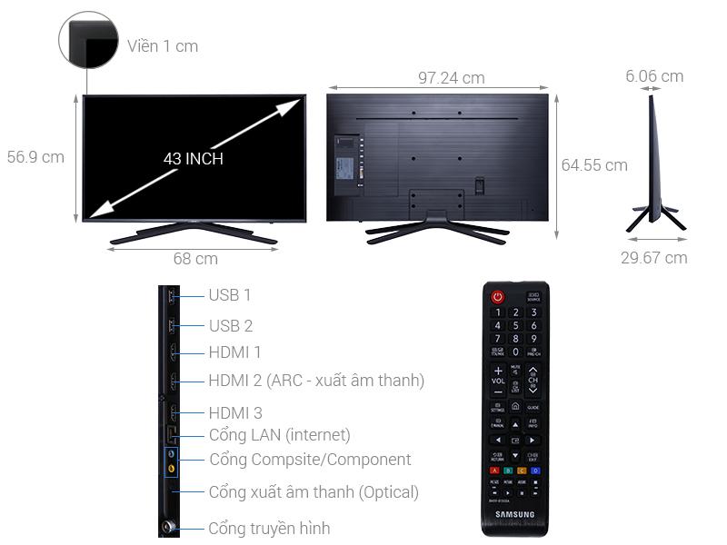 Thông số kỹ thuật Smart Tivi Samsung 43 inch UA43N5500