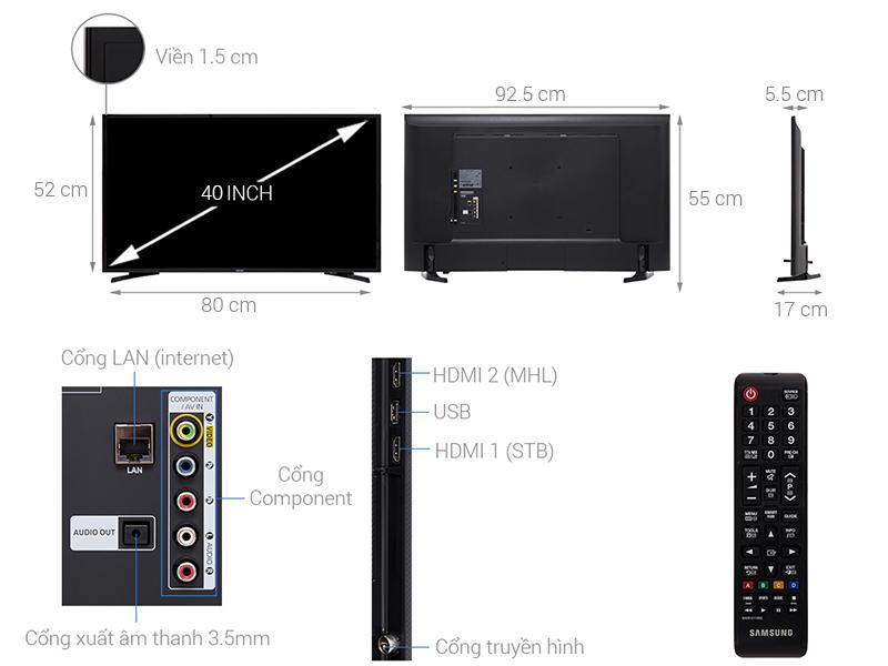 Thông số kỹ thuật Smart Tivi Samsung 40 inch UA40J5250D