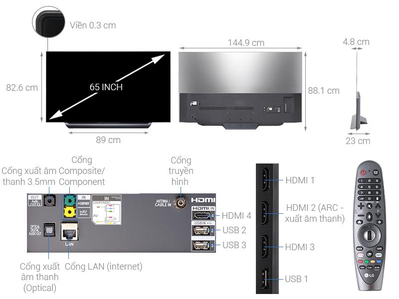 Thông số kỹ thuật Smart Tivi OLED LG 4K 65 inch 65C8PTA