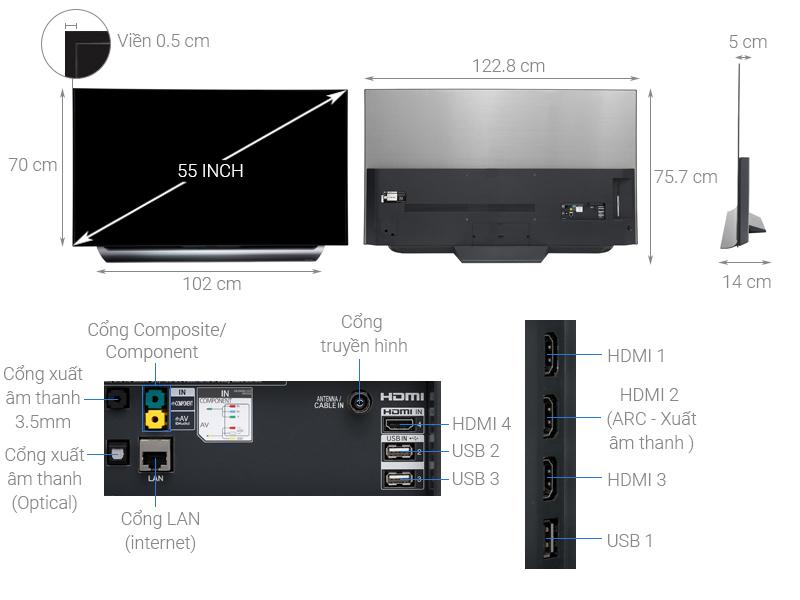 Thông số kỹ thuật Smart Tivi OLED LG 4K 55 inch 55C8PTA