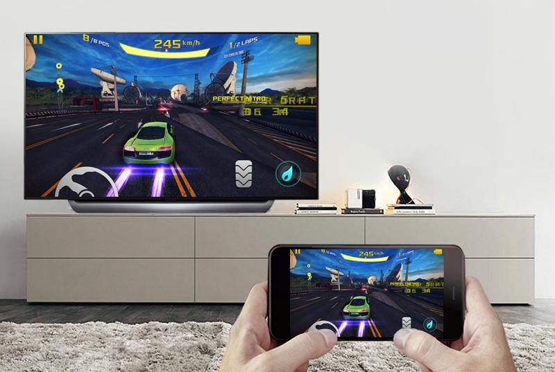 Chiếu màn hình điện thoại lên Smart Tivi OLED LG 4K 55 inch 55C8PTA