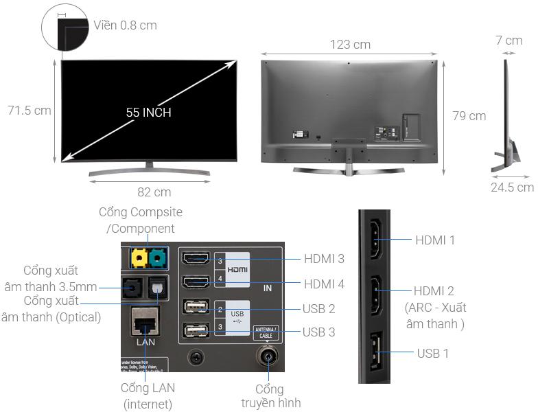 Thông số kỹ thuật Smart Tivi LG 4K 55 inch 55SK8000PTA