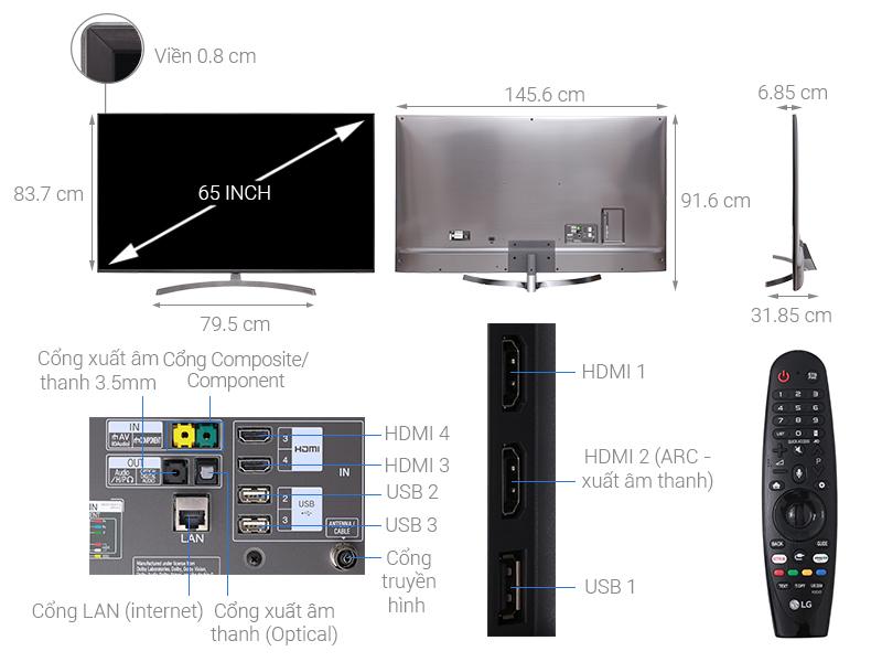 Thông số kỹ thuật Smart Tivi LG 4K 65 inch 65SK8000PTA