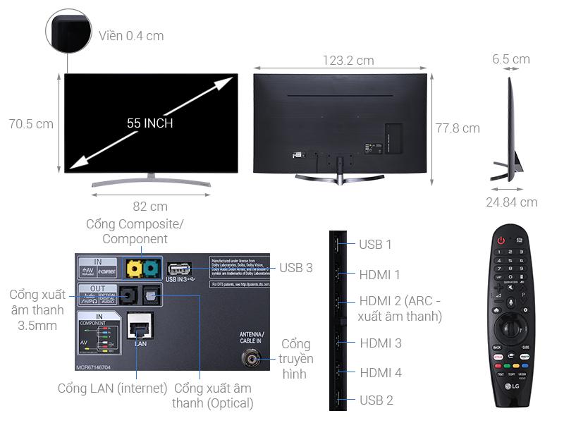 Thông số kỹ thuật Smart Tivi LG 4K 55 inch 55SK8500PTA