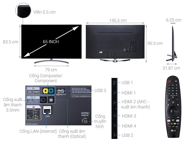 Thông số kỹ thuật Smart Tivi LG 4K 65 inch 65SK8500PTA
